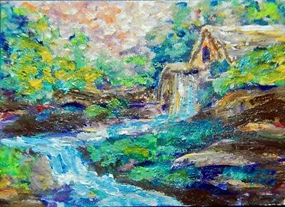 ACEO Original Art Painting Acrylic, Waterfall, Old Mill, Impressionistic, Rocks