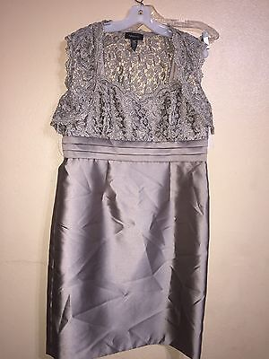 New R&M Richards Jacket Dress 14 NWT Mother of Bride Metallic Lace Gray