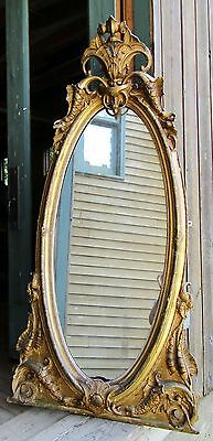 VICTORIAN ROCOCO STYLE GILDED HALL MIRROR C. 1860s
