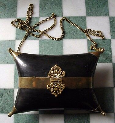 A Vintage Horn Brass Mounted Shaped Rectangular Purse & Chain