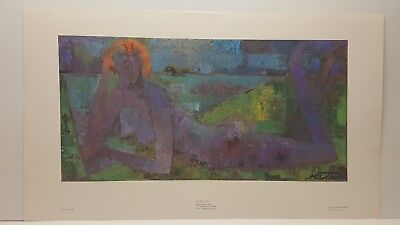 Wolf Reuther At the Beach in Blue Vintage Lithograph Art Print