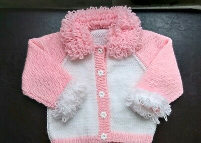 Knitting Patterns For Loopy Cardigan : Baby loopy cardigan and hat Pink 0-3   ?7.99 - PicClick UK