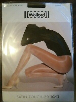 New Wolford Satin Touch 20 Tights Pantyhose - Large - Black NWT