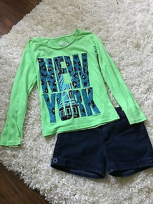 Justice T-Shirt And Jean Shorts Sz 7/8 Girls