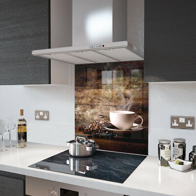 White Coffee Cup With Beans - Glass Splashback - 90cm Wide x 80cm High