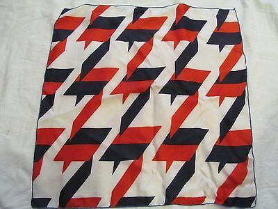 """Vintage Scarf -   Multi-color  White, Red and Navy Blue      - 21"""" square"""