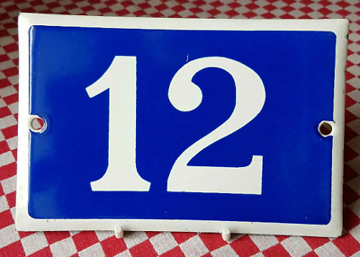 Vintage French Industrial Traditional Blue & White Enamel Door / House Number 12