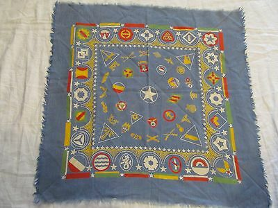 """Vintage Scarf  -Cotton 22"""" Square with Army Emblems."""