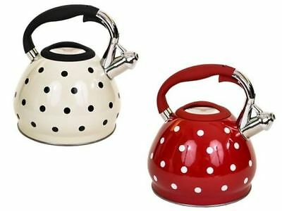 3.5Ltr Stainless Steel White/Red Polka Dot Whistling Kettle Use Gas Electric Hob