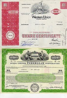12 All different stock certificates western union international Mercantile Mar +