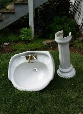 Antique bathroom pedestal  basin  Excellent .  White.