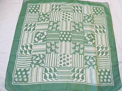 """Vintage Scarf -Sheer, Green and White.   26"""" Square."""
