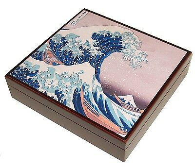 Great Wave Hokusai Mahogany Red Finish Dresser Gift Presentation Box Case - NEW