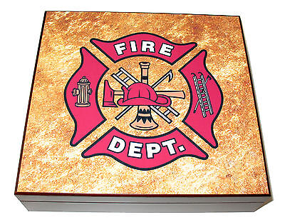 Firefighter Fireman Mahogany Red Dresser Gift Presentation Box Case - NEW