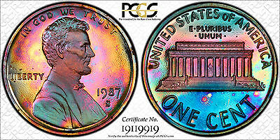 1987-S Proof Lincoln Cent - Great Toning! - PCGS PR61RD Cameo