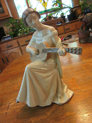 Vintage Bing And Grondahl Porcelain  Figurine  Lady Playing Guitar Denmark 1684