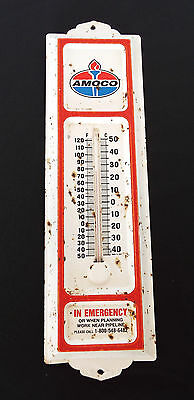 Vintage Amoco Oil Outdoor Metal Thermometer Made in USA