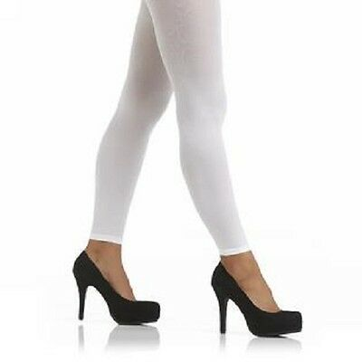 Women's White Footless Tights - Attention  Opaque Footless Tights Medium / Large