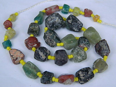 "Ancient Roman Glass Fragments Beads Strand C.200 Bc """"k780"""""