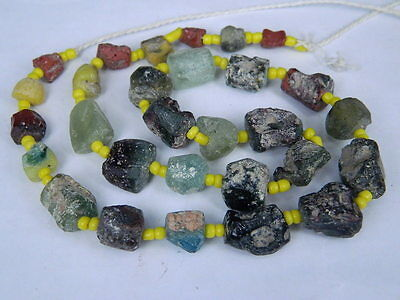 "Ancient Roman Glass Fragments Beads Strand C.200 Bc  """"k800"""""
