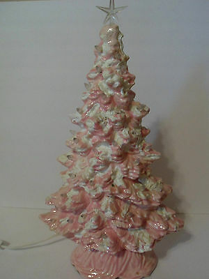 Vintage Pink Ceramic Christmas Tree With Clear Bulbs White Flocking 17