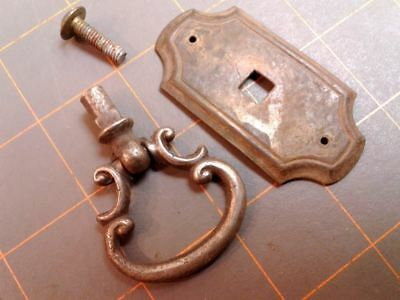 Brass Bow Drawer Pull w Backplate Furniture Hardware Circa 1920 Vintage