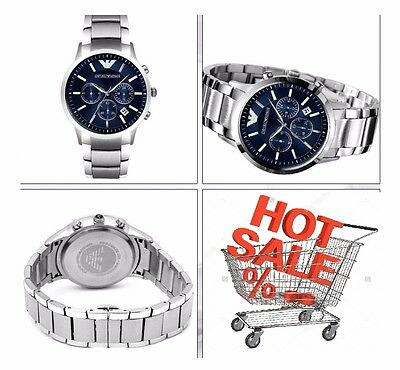 New Emporio Armani Ar2448 Stainless Steel Bracelet Blue Dial Men's Watch Uk Gift
