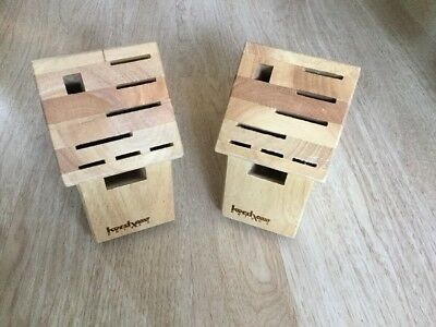 Lot of 2 new Kershaw 9 slot knife block hardwood Lot11
