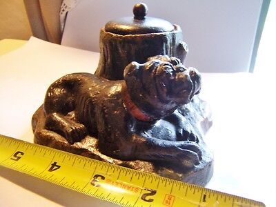 Antique pottery Figural covered Holder bull DOG Pottery  paper clip holder box