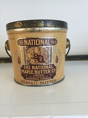 Rare Antique National Peanut Butter Tin With Beavers