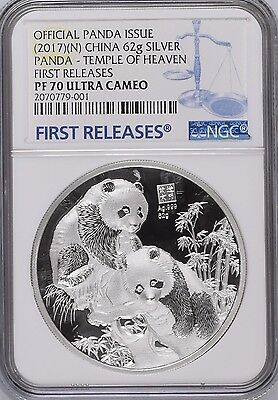 2017 NGC PF70 Silver Temple Of Heaven Panda 62G First Releases, Awesome Series!