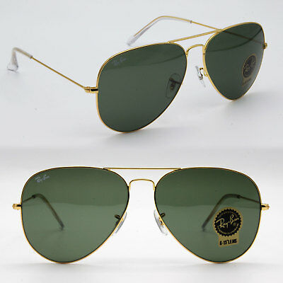 Ray-Ban Aviator New Sunglasses for Men, Women Classic Green / Gold RB3026 LARGE