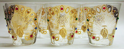 Set of 6 Culver PEACOCK Gold Jeweled Lowball Bar Glasses Mid Century KITSCH Rare