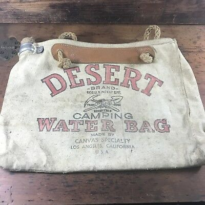VINTAGE DESERT CANVAS FLAX DUCK SCOTLAND CAMPING CARRY BAG 1940's MADE IN USA