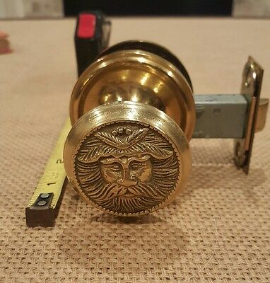 Antique Vintage Door Knob Set Solid Brass Northwind Old Man Doorknob - Free Ship