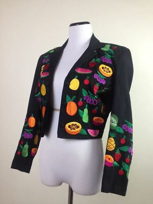 Vintage 80s 90s Colorful Embroidery Fruit Black Cropped Bolero Blazer Jacket S M