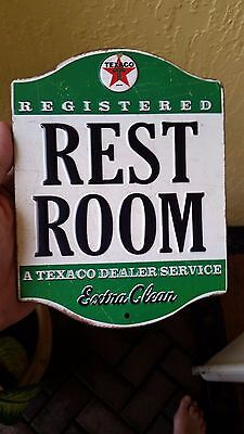 Texaco Restroom Extra Clean Raised Letters Vintage Style Gas Shop Man Cave