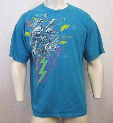 Rare Vintage Rock On Skull Heads & Flying Guitar 1980's Color Way T Shirt Sz Xl