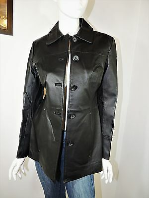 east 5th Womens Black Genuine Leather Jacket Coat Size Small S