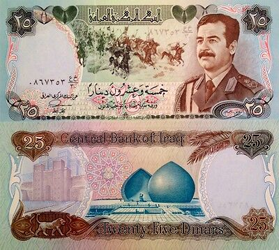 Iraq 1986, 25 Dinars. Saddam Hussein In Uniform Uncirculated. Buy 4 Get 1 Free.