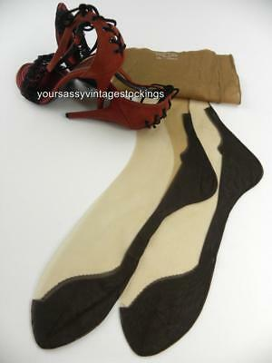 SASSY 1 Pr CANNON 51/15 SEAMED COCO BROWN FOOT Vintage Nylon Stockings  10.5/32""