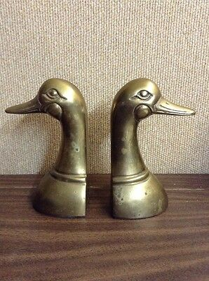 "VTG WEIGHTED BRASS MALLARD DUCK HEAD BOOK ENDS 6-1/4""x3-1/4"" MADE IN KOREA"