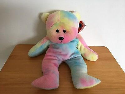 Skansen Cuddly Kid Herb Large Size Beanie Kid Retired Tie Dyed Bear 1999