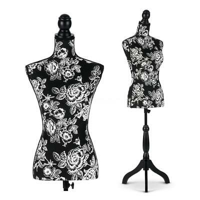Female Mannequin Torso Dress Form Display W/ Black Tripod Stand Pattern New O7U4