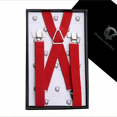 Men's Red X2.5cm Braces Suspenders Mens