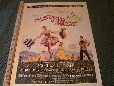 """Vintage The sound of music Julie Andrews movie poster  20"""" x 14"""""""