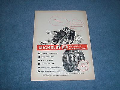"""1963 Michelin X Radial Cord Tires Vintage Ad """"Sure White Walls Look Nice...."""""""