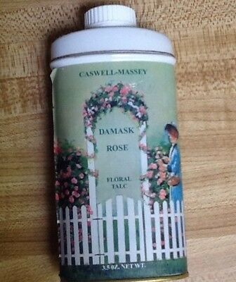 "Talc Tin! Vintage ""caswell Massey ""damask Rose"" Floral Talc-5-1/4"