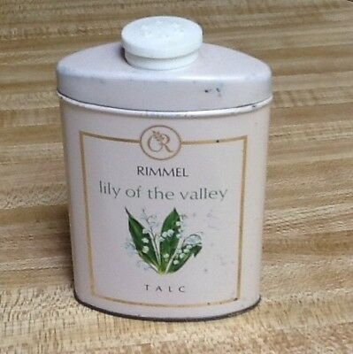 "RIMMEL ""LILY OF THE VALLEY"" TALC-Vintage Tin W/talc. Pretty Graphics"