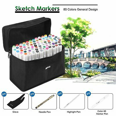 Set of 80 Colour Markers Pen Graphic Art Sketch Twin Tips Fine Point General